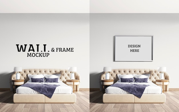 Mockup a parete e cornice camera da letto neoclassica