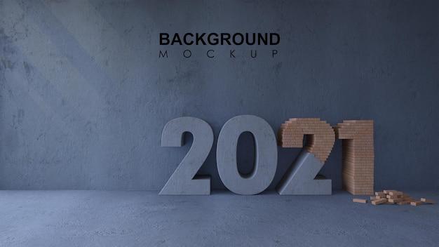 Mockup achtergrond met 3d-rendering bakstenen