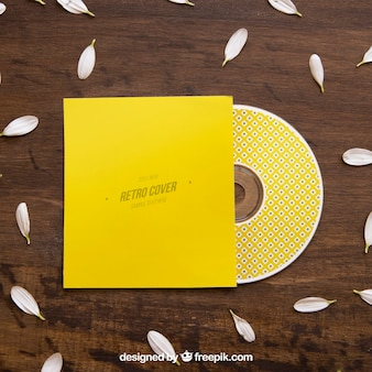 Mockup amarillo de cd