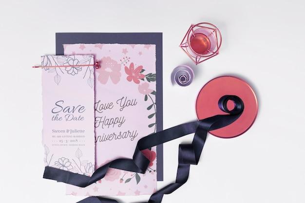 Mockup bella carta di nozze