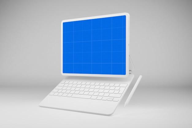 Mockup bianco tablet e tastiera