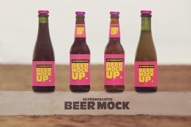 Mockup birra multipla da spiaggia