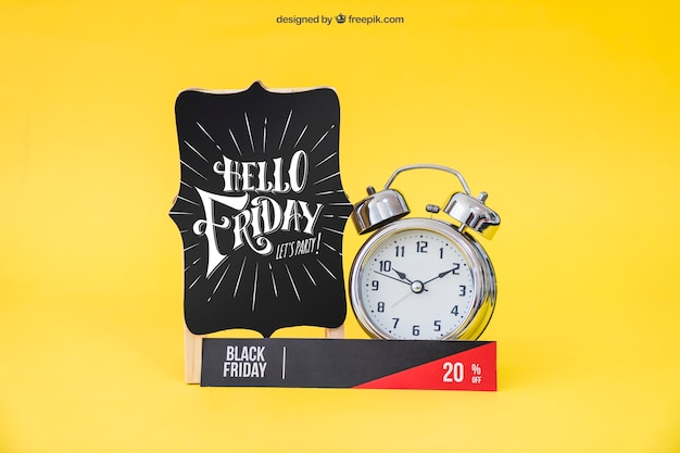 Mockup de black friday con banner y alarma