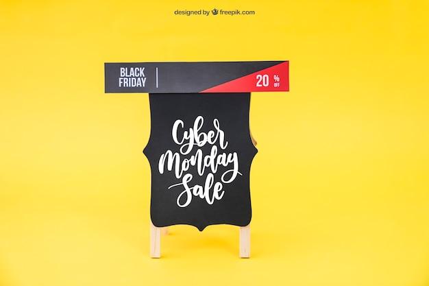 Mockup de black friday con banner