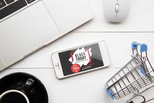 Mockup de black friday con smartphone