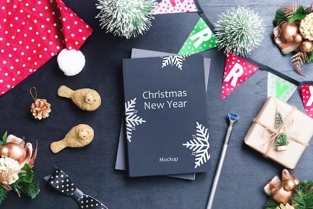 Mockup-boekomslag voor kerstmis en nieuwjaar