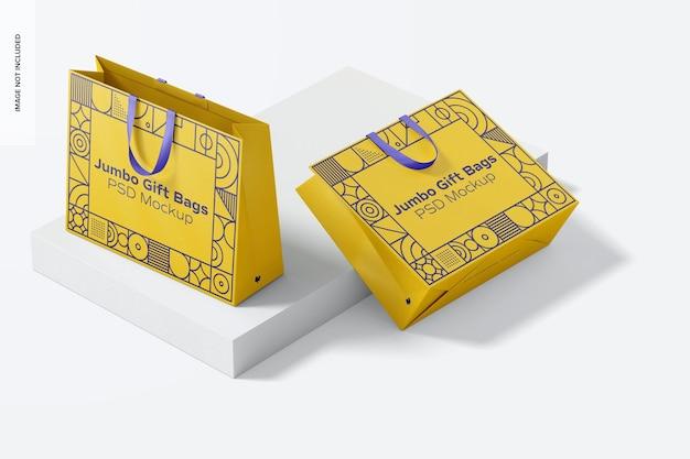 Mockup de bolsas de regalo jumbo con asa de cinta