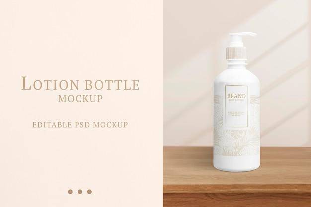 Mockup de botella de loción corporal psd en diseño floral para marcas de belleza