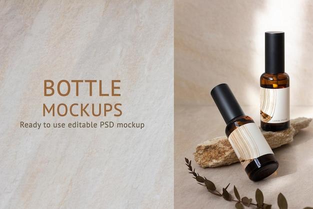 Mockup de botella de spray aromático embalaje de producto terapéutico psd