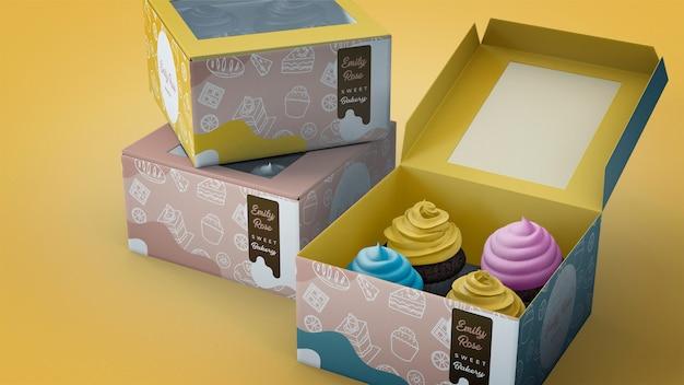 Mockup de branding con cupcakes