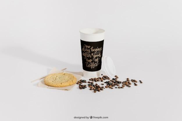 Mockup de café con granos