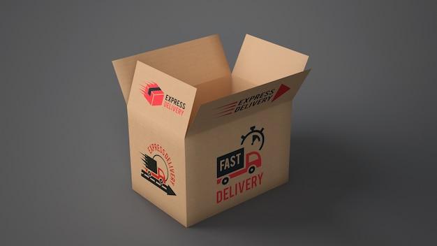 Mockup de caja de envío abierta