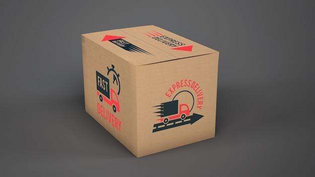 Mockup de caja de envío