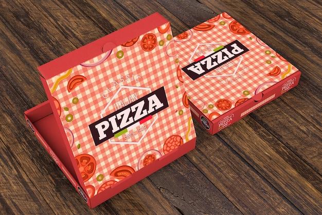 Mockup de caja de pizza isométrica