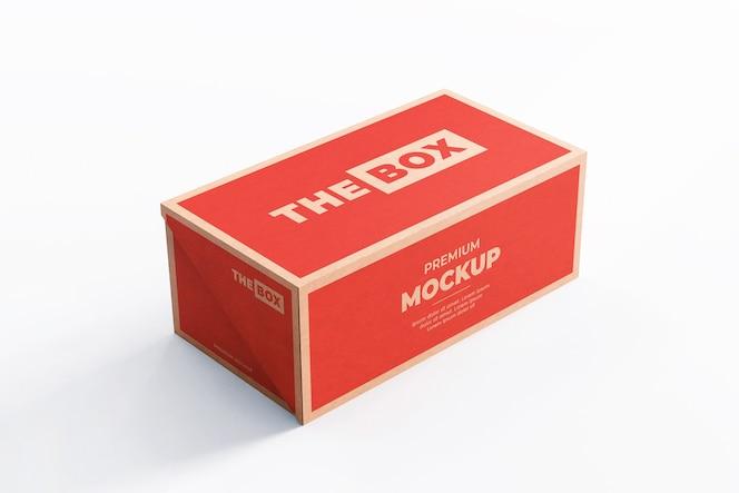 Mockup de caja de zapatos marrón rojo