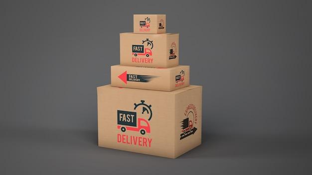 Mockup de cajas de envío en diferentes tamaños
