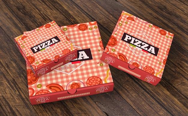 Mockup de cajas de pizza en diferentes tamaños