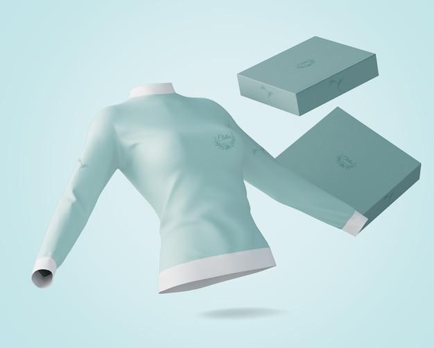 Mockup de camiseta y caja