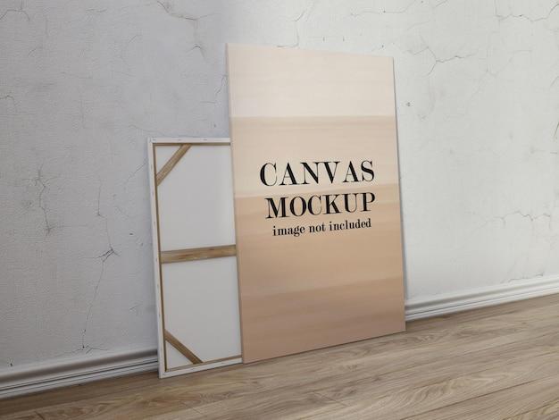 Mockup canvas dat tegen de muur leunt