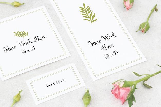 Mockup carta di nozze, biglietto di ringraziamento e carta di nome