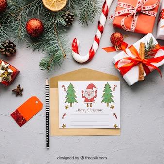 Mockup de carta con diseño de navidad