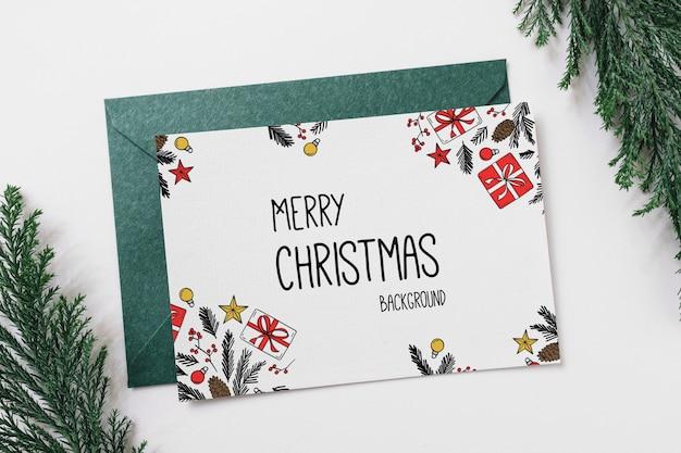 Mockup de carta y sobre con concepto de navidad