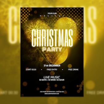 Mockup de cartel elegante dorado y negro de fiesta de navidad