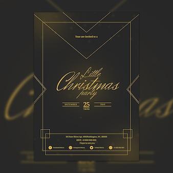 Mockup de cartel elegante oscuro de fiesta de navidad