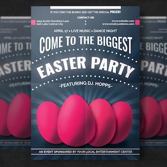 Mockup de cartel de pascua con huevos realistas