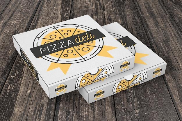 Mockup de cartones de pizza en montón
