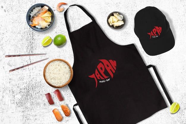 Mockup de comida con diseño de sushi