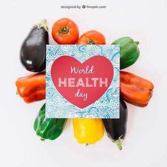 Mockup de comida sana con tarjeta