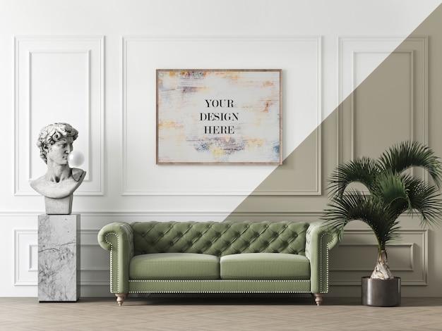 Mockup con cornice in legno su parete stampata con scultura e divano