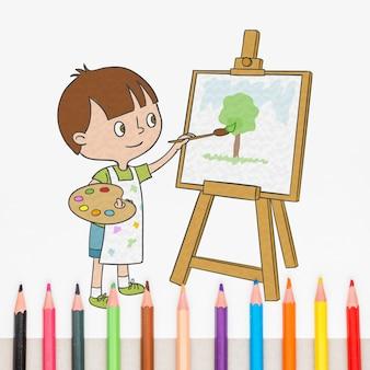 Mockup con matite in diversi colori