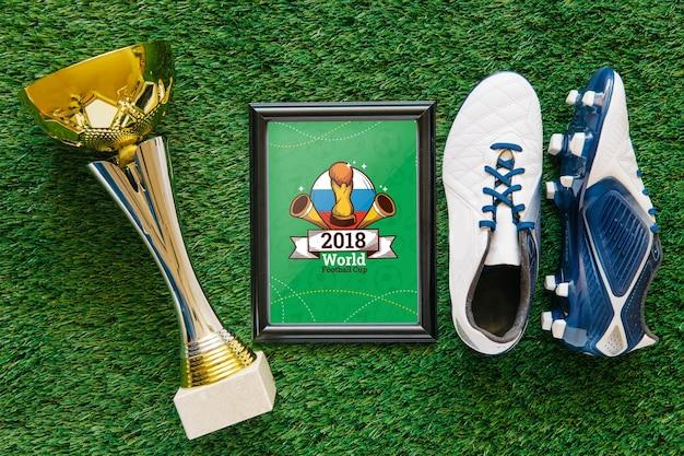 Mockup de copa de fútbol mundial con marco