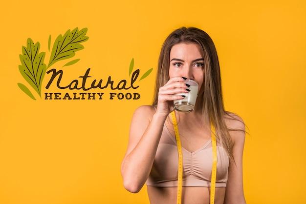 Mockup de copyspace con concepto de comida sana