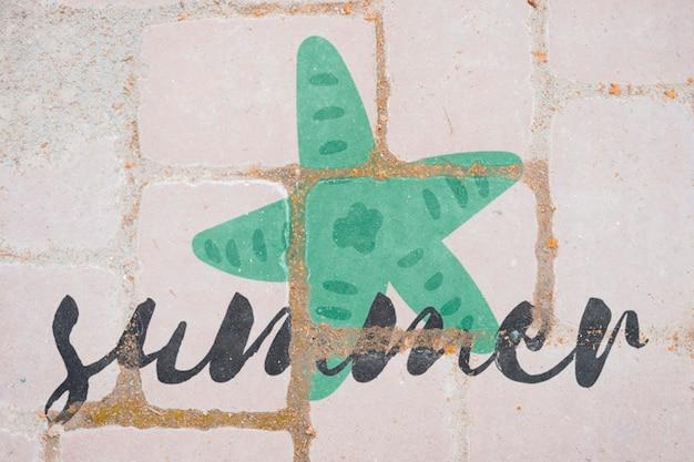 Mockup de copyspace en pared para lettering de verano