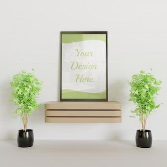 Mockup cornice nera sulla scrivania in legno con piante decorative coppia