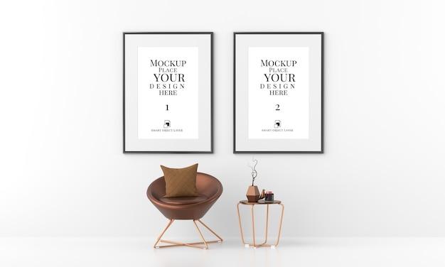 Mockup cornice per foto vuota nel soggiorno