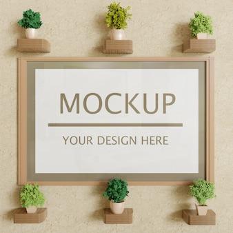 Mockup cornice verticale con piante decorative su muro di gesso