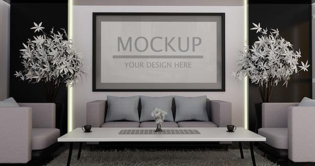 Mockup cornice verticale sul muro del soggiorno