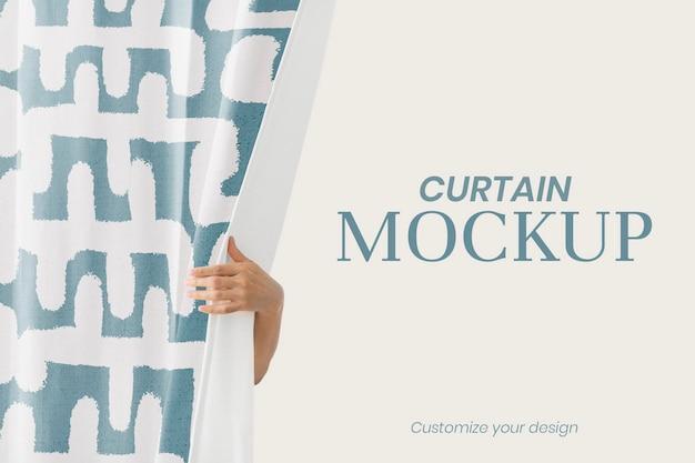 Mockup de cortina psd, diseño de patrón de impresión de bloque vintage