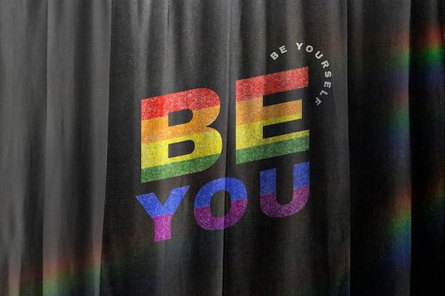 Mockup de cortinas psd con palabra colorida