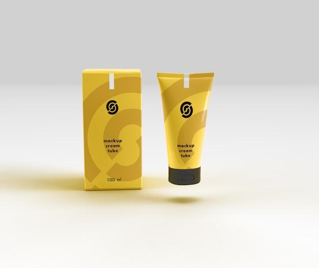 Mockup cosmetico di tubo e scatola