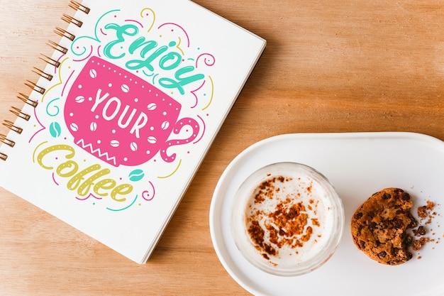 Mockup de cover de libreta con concepto de café