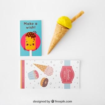 Mockup creativo de helado con concepto stationery