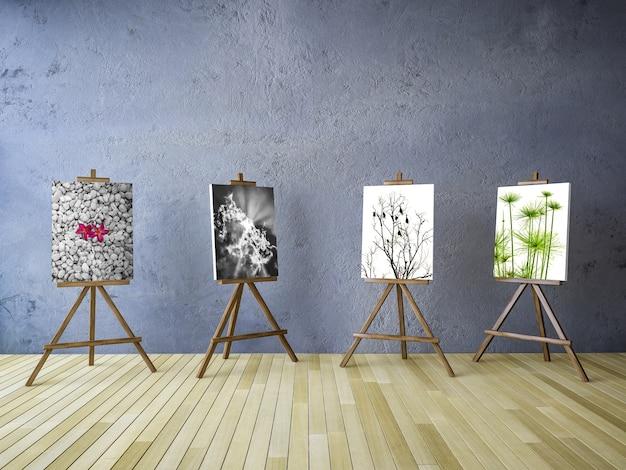 Mockup de cuatro lienzos