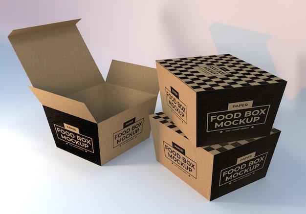 Mockup d'imballaggio di scatole per alimenti di carta realistiche
