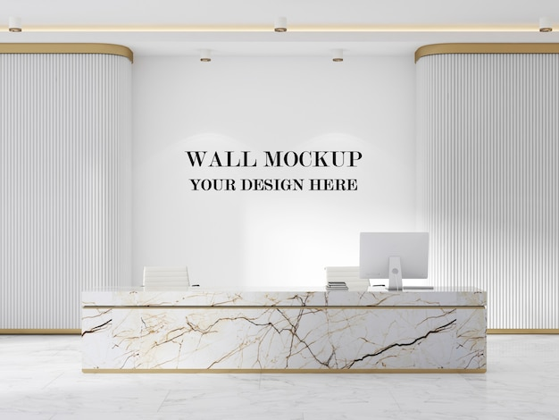 Mockup da parete in reception moderna con design minimalista