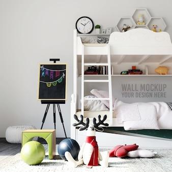 Mockup da parete interno camera da letto per bambini con decorazioni